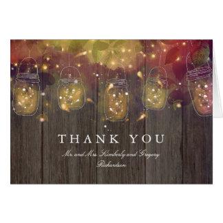 Die Wedding Weckglas-Lichter danken Ihnen Karte
