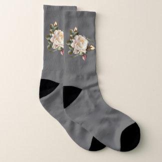 Die weiße Rose, die ganz vorbei groß ist - drucken Socken