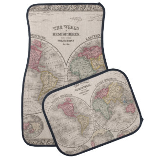 Die Welt 1860 - Ost- u. Westernhemisphären Autofußmatte