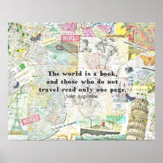 Die Welt ist ein Buch REISE-ZITAT Poster