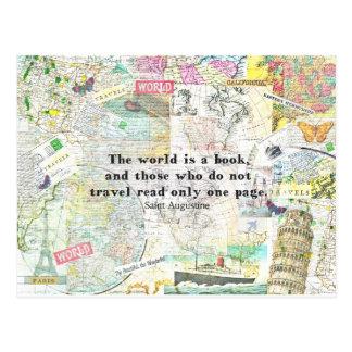 Die Welt ist ein Buch REISE-ZITAT Postkarte