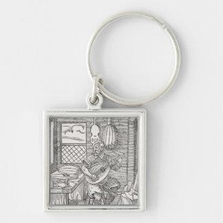 Die Werkstatt des Instrument-Herstellers, c.1570 Silberfarbener Quadratischer Schlüsselanhänger