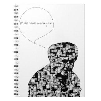 Die Wörter stellen das Mann-Notizbuch | her, zu Spiral Notizblock