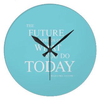 Die Zukunft, die motivierend Zitat-Blau-Uhr Große Wanduhr