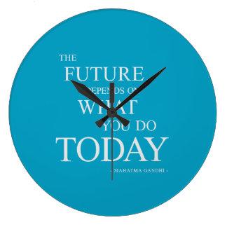 Die Zukunft, die motivierend Zitat-Uhr-Blau Große Wanduhr