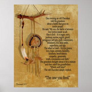 Die zwei Wölfe, Cherokee Sprichwort Poster
