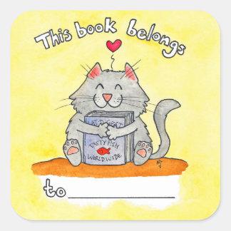Dieses Buch gehört Katzenaufkleber durch Nicole Quadratischer Aufkleber