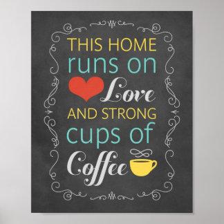 Dieses Zuhause läuft auf Liebe und starke Schalen Poster