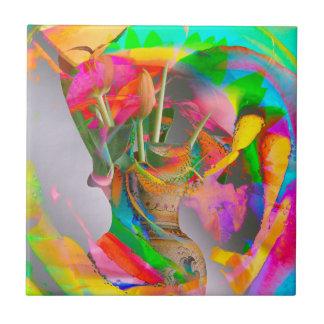 Digital-Blumen-Park - Mischmedium-Kunst! Kleine Quadratische Fliese