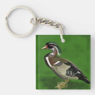 Digital gemalte hölzerne Ente Schlüsselanhänger