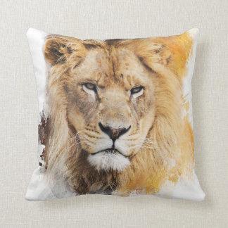Digital-Malerei eines fotografierten Löwekopfes Kissen