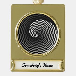 Digital-Schachbrett Yin Yang Banner-Ornament Gold