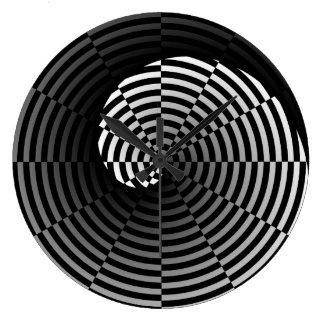 Digital-Schachbrett Yin Yang durch Kenneth Yoncich Große Wanduhr