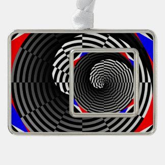 Digital-Schachbrett Yin Yang Rahmen-Ornament Silber