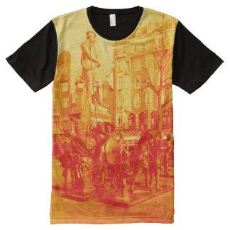 digitale Fotoorange Rembrandt-Statueamsterdams T-Shirt Mit Komplett Bedruckbarer Vorderseite