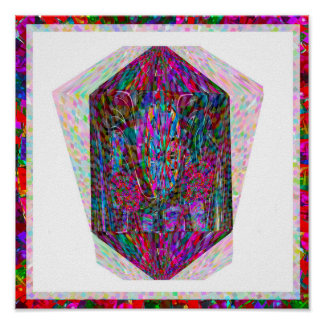 Digitale Grafik des Kristallentwurfs durch Reiki Poster