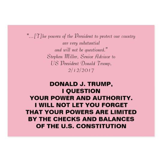 Diktator Trump Checks und Balancen-Widerstand Postkarte