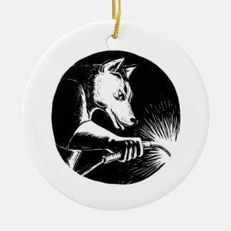 Dingo-Hundeschweißer Scratchboard Rundes Keramik Ornament