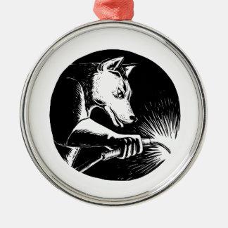 Dingo-Hundeschweißer Scratchboard Rundes Silberfarbenes Ornament