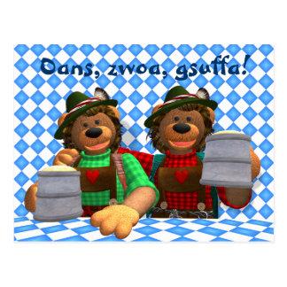 Dinky Bären bayerische Oktoberfest Bären Postkarte