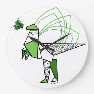 Dino origami große wanduhr