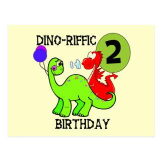 Dinosaurier-2. Geburtstags-T - Shirts und Postkarte