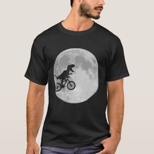 Dinosaurier auf einem Fahrrad im Himmel mit Mond T-Shirt