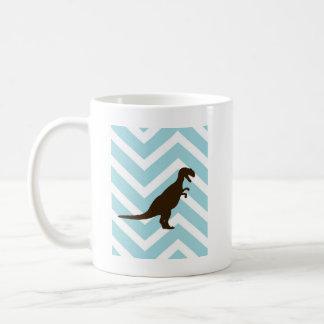 Dinosaurier auf Zickzack Zickzack - Blau und Weiß Kaffeetasse