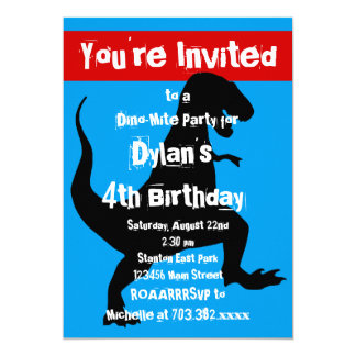 Dinosaurier-blaues Rot-Geburtstags-Party Einladung