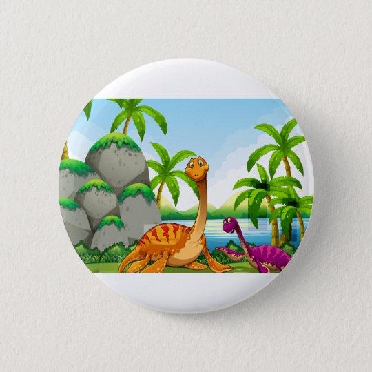 Dinosaurier, der im Dschungel lebt Runder Button 5,7 Cm