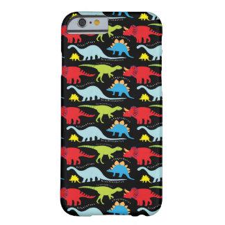 Dinosaurier entwirft blaues Rot-Grün auf Schwarzem Barely There iPhone 6 Hülle