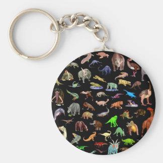 Dinosaurier-Familie Standard Runder Schlüsselanhänger