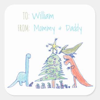 Dinosaurier-Feiertags-Weihnachtsaufkleber Quadratischer Aufkleber