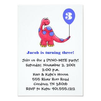 Dinosaurier-Geburtstags-Einladung Karte