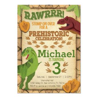 Dinosaurier-Geburtstags-Einladung, T-Rex Einladung