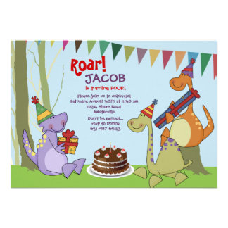 Dinosaurier-Geburtstags-Party Einladung