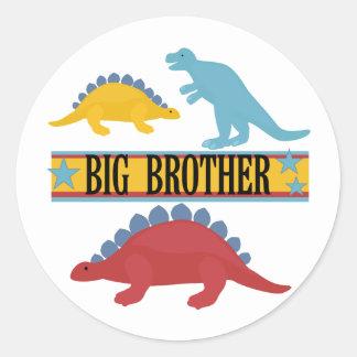 Dinosaurier-großer Bruder Runder Aufkleber