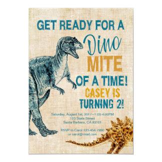 Dinosaurier-Jungen-Geburtstags-Einladung 12,7 X 17,8 Cm Einladungskarte