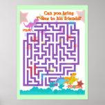 Dinosaurier-Labyrinth-Puzzlespiel-Spiel-Plakat Poster