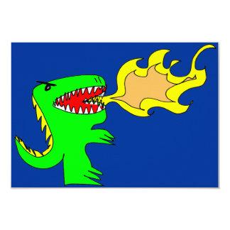 Dinosaurier-oder Drache-Kunst durch wenig t + 8,9 X 12,7 Cm Einladungskarte