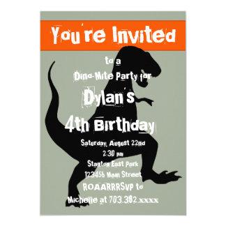 Dinosaurier-orange Geburtstags-Party Einladung T