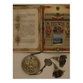 Diploma Prinzen, das Otto von Bismarck investiert Postkarte