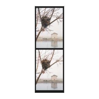 Diptych des Vogels das Nest Gespannter Galerie Druck