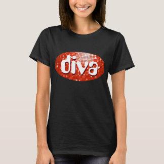 """Disco deckt rotes """"Diva"""" T - Shirtschwarzes mit T-Shirt"""
