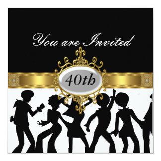 Disco-schwarze Geburtstags-Party-Glamour-Einladung Karte