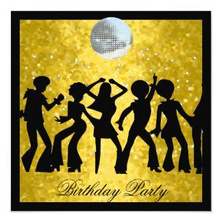 Discosiebziger jahre Geburtstags-Party Retro Quadratische 13,3 Cm Einladungskarte