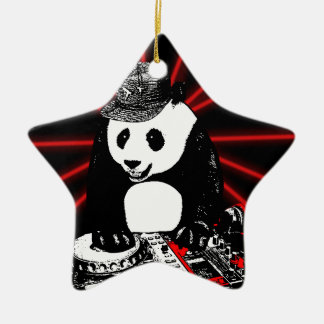 Diskjockeypanda Keramik Stern-Ornament