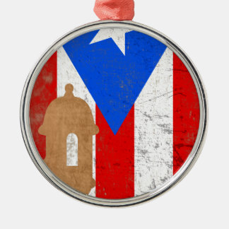 distessed EL Moro Puerto Rico .png Rundes Silberfarbenes Ornament