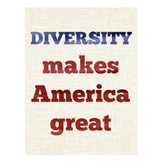 DIVERSITY macht Amerika große Postkarte