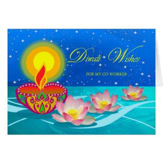 Diwali Wünsche für Mitarbeiter, Diya und Lotus Karte